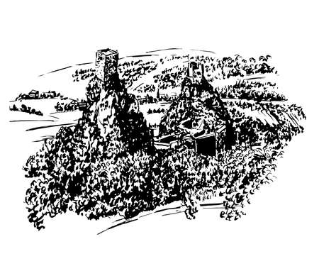 drawing landscape view of the ruins of Trosky castle in Bohemian Paradise, Czech Republic, sketch, hand-drawn vector illustration Illustration
