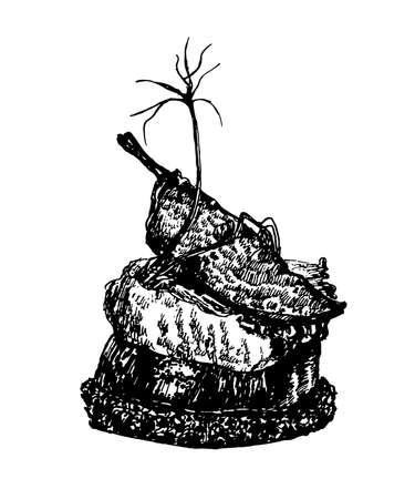 野菜をスケッチ、ベクターの手描きイラストの部分にハモンとスペインのタパスを描画