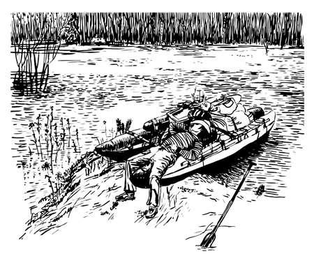 春ラフティング川、スケッチ、ベクターの手描きイラストの中に双胴船でリラックスしたカウボーイ ハットの男を描画