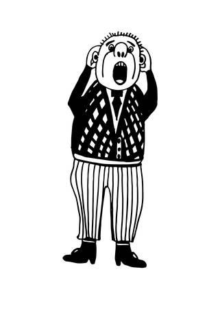手作業でペイントされたベクトル図をスケッチ ホラー絶叫のコミック キャラクター男を描く、