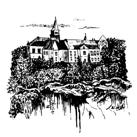Drawing landscape view of the castle Hruba Skala in the Bohemian Paradise on the shore of a stony precipice.