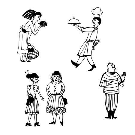 男と女、輪郭スケッチのベクトル図のマンガのキャラクターの図面セット