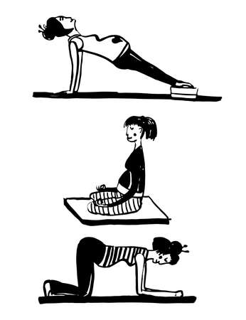 Drawing set of elements of pregnant woman doing yoga, sketch of doodle hand drawn vector illustration