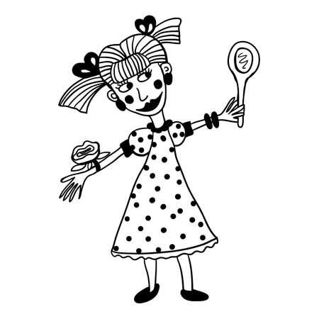 図面着色, 女の子 modna 着用ジュエリー、メイクアップ、鏡の前でスピン  イラスト・ベクター素材