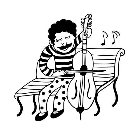 Drawing of a street musician in funny pants in polka dots playing a cello, sketch of a doodle graphics ink manually drawn vector illustration