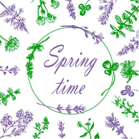フィールドの草、スケッチの花輪の描く手描きグラフィック ベクトル イラスト