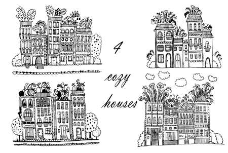 Drawing Flower City, set of 3 illustrations with funny fantasy houses, sketch doodle cartoon hand drawn vector illustration.