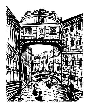 Drawing landscape view of the bridge of sighs in Venice, Italy, sketch of hand-drawn ink graphic vector illustration