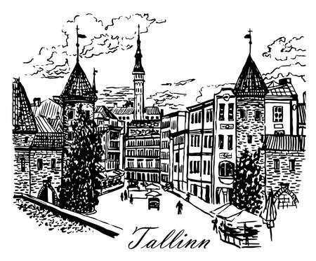 Drawing landscape view of the Viru Gate in the old town of Tallinn, Estonia.