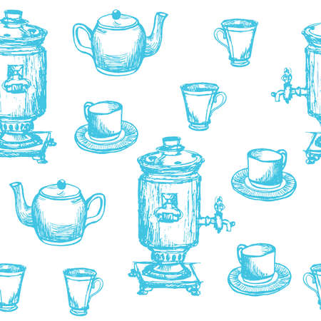 Seamless background pattern hand drawn samovar, teapot and cups graphic black vector illustration