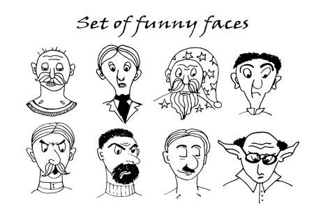 Drawing funny character portraits contour doodle ink sketch comic vector illustration