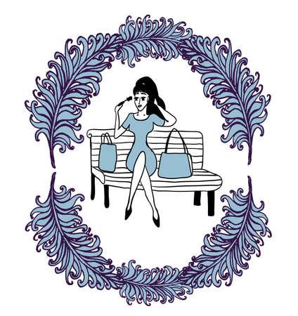 公園のベンチに買い物の後女の子修正緑豊かな羽スケッチ輪郭コミック漫画のベクトル図のフレームにメイクアップ