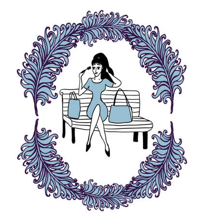 Girl after shopping on a park bench corrects make-up In the frame of a lush feathers sketch comic contour cartoon vector illustration