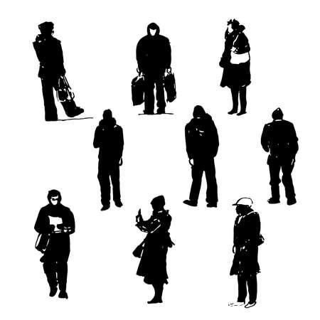 人物グラフィック ブラック インク スケッチ ベクトルの手描きイラストのシルエットを描画  イラスト・ベクター素材