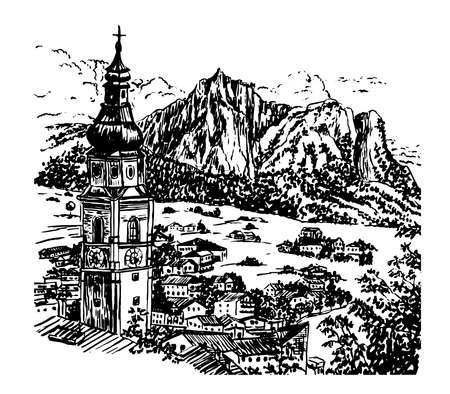 Drawing Alpine village in Tyrol with a beautiful bell tower, Austria, sketch hand drawn vector illustration