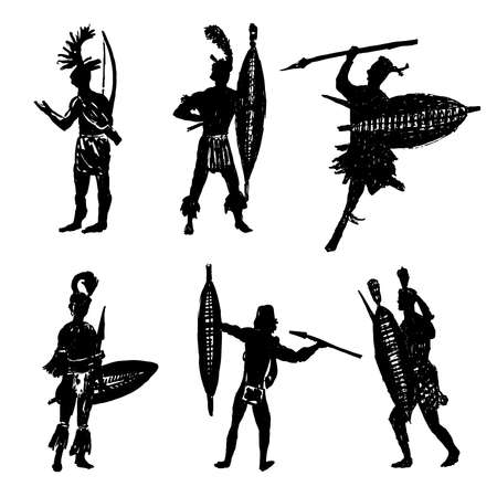 Drawing collection of silhouettes of African tribal warriors in the battle suit and arms sketch hand drawn vector illustration Vettoriali