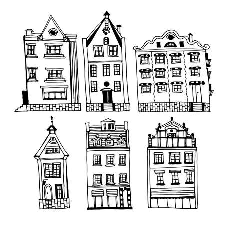 Drawing of a set of vintage houses of the old city of Riga, sketch of hand-drawn ink illustration. Vectores