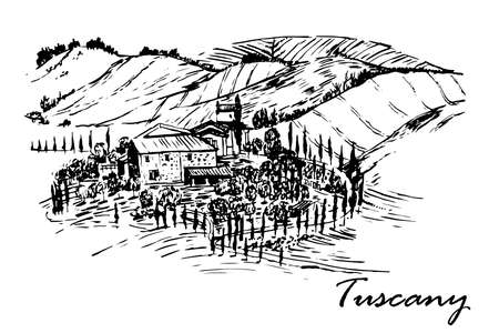 Drawing of a beautiful landscape of Tuscany fields with the beautiful manor house sketch ink hand drawn vector illustration