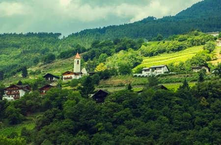 Background landscape of a small alpine village in Tyrol, Austria