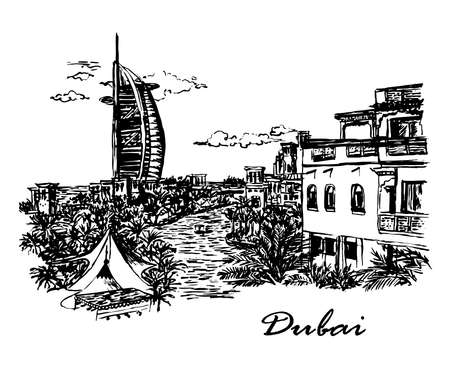 drawing background landscape view of the luxury seven-star hotel Parus in the center of Dubai, United Arab Emirates, sketch of a hand-drawn vector illustration