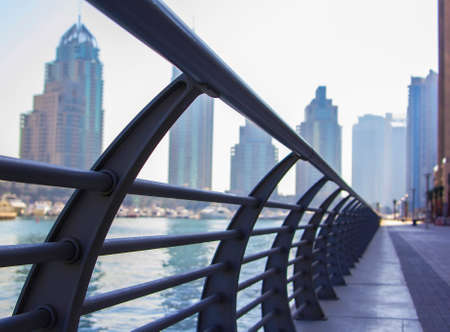 background cityscape view of the promenade in Dubai Marina, Dubai, UAE Stock Photo