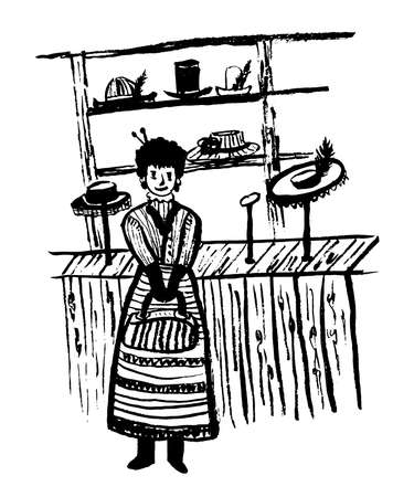 Drawing girl in old-fashioned clothes in russian style in a hat shop picks hat, sketch hand-drawn vintage vector illustration