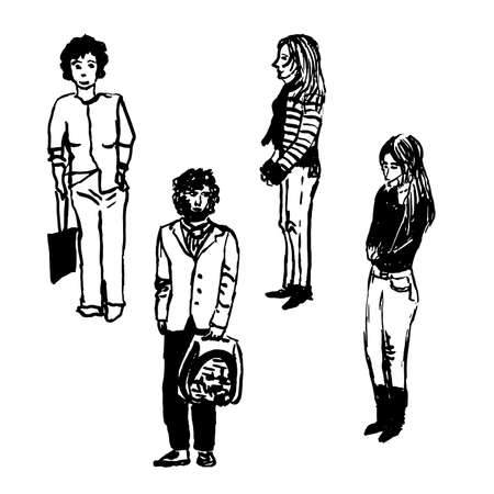 Drawing set of four figures of urban residents on the street, men and women, sketch, hand-drawn vector illustration