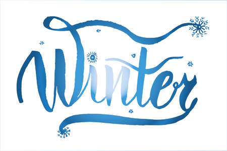 Drawing, inscription with the text Winter, lettering caliber hand-drawn ink brush vector illustration