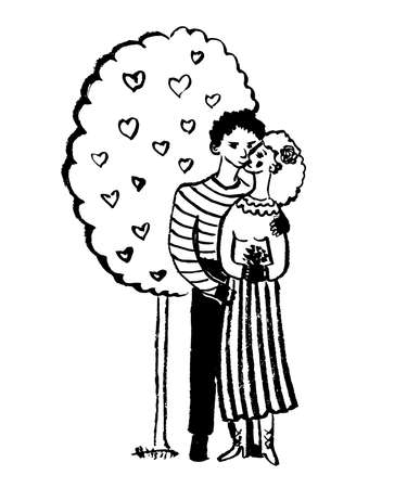 drawing picture two lovers hugging and kissing under a tree with hearts, sketch, hand-drawn comic graphic vector illustration Vectores
