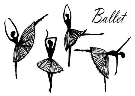 picture set of images, four silhouette figures of dancing ballet dancers, sketch, hand-drawn vector illustration