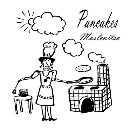 Drawing picture of a young woman with a frying pan in a chef's hat preparing pancakes on an open fire on a street stove, sketch, hand-drawn ink vector illustration