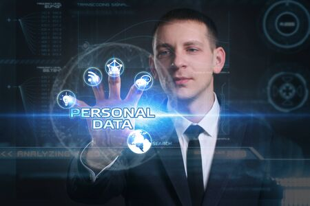 datos personales: Business, Technology, Internet and network concept. Young businessman working on a virtual screen of the future and sees the inscription: personal data