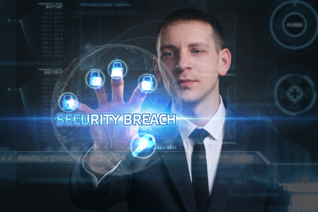 security breach: Business, Technology, Internet and network concept. Young businessman working on a virtual screen of the future and sees the inscription: security breach