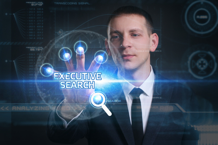 executive search: Business, Technology, Internet and network concept. Young businessman working on a virtual screen of the future and sees the inscription: executive search
