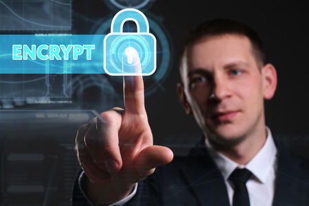 encrypt: Business, Technology, Internet and network concept. Young businessman working on a virtual screen of the future and sees the inscription: encrypt