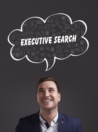 executive search: Business, Technology, Internet and marketing. Young businessman thinking about: executive search