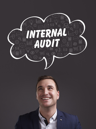 internal audit: Business, Technology, Internet and marketing. Young businessman thinking about: internal audit