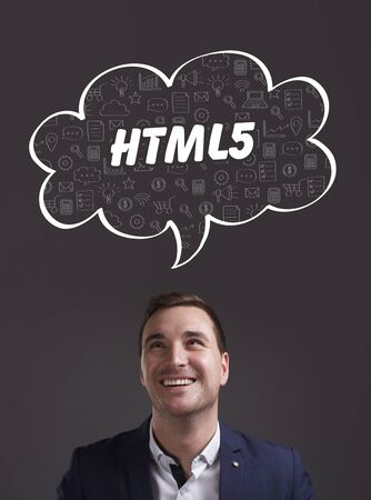 html5: Business, Technology, Internet and marketing. Young businessman thinking about: HTML5 Stock Photo