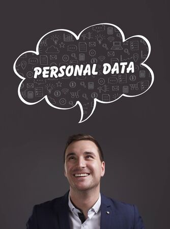 datos personales: Business, Technology, Internet and marketing. Young businessman thinking about: personal data