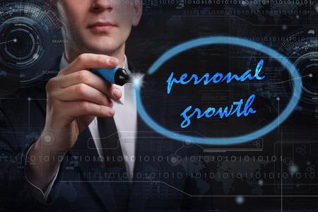 superacion personal: Negocio, Tecnología, Internet y el concepto de red. Joven hombre de palabra redacción comercial: crecimiento personal