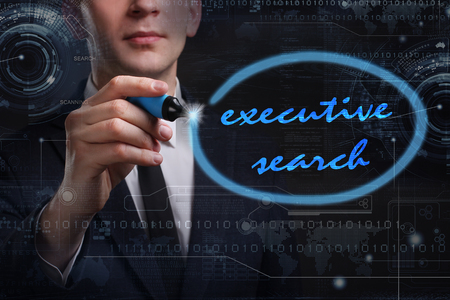 executive search: Business, Technology, Internet and network concept. Young business man writing word: executive search