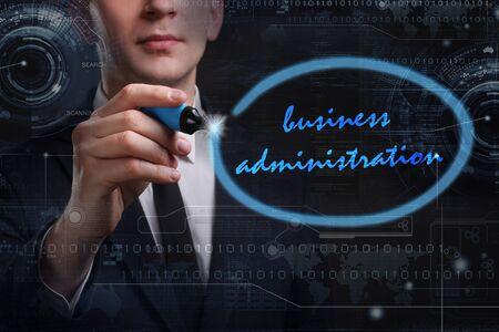 administracion de empresas: Negocio, Tecnología, Internet y el concepto de red. Joven hombre de negocios por escrito la palabra: administración de empresas