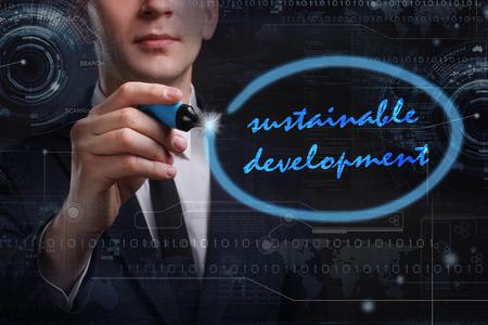 desarrollo sostenible: Negocio, Tecnología, Internet y el concepto de red. Joven hombre de palabra escritura del negocio: el desarrollo sostenible Foto de archivo
