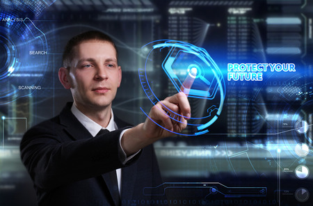 control fraud: Business, Technology, Internet and network concept. Young businessman working on a virtual blackboard of the future, he sees the inscription: protect your future Stock Photo