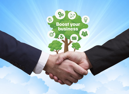 Technology, the Internet, business and network concept. Businessmen shake hands: Boost your business Stock Photo