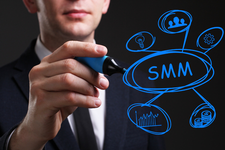 Business, Technology, Internet and network concept. Young business man writing word: SMM Stock Photo