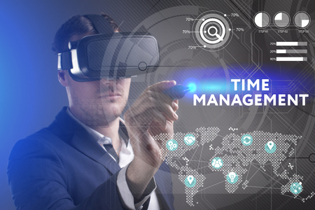 keywords link: Business, Technology, Internet and network concept. Young businessman working in virtual reality glasses sees the inscription: Time management