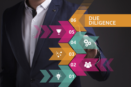 keywords link: Business, Technology, Internet and network concept. Young businessman working on a virtual screen of the future and sees the inscription: Due diligence Stock Photo