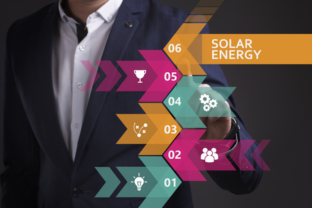 keywords link: Business, Technology, Internet and network concept. Young businessman working on a virtual screen of the future and sees the inscription: Solar energy