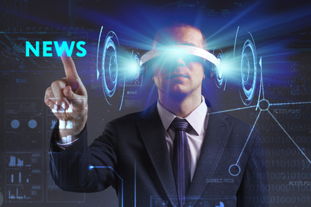 keywords link: Business, Technology, Internet and network concept. Young businessman working in virtual reality glasses sees the inscription: News Stock Photo